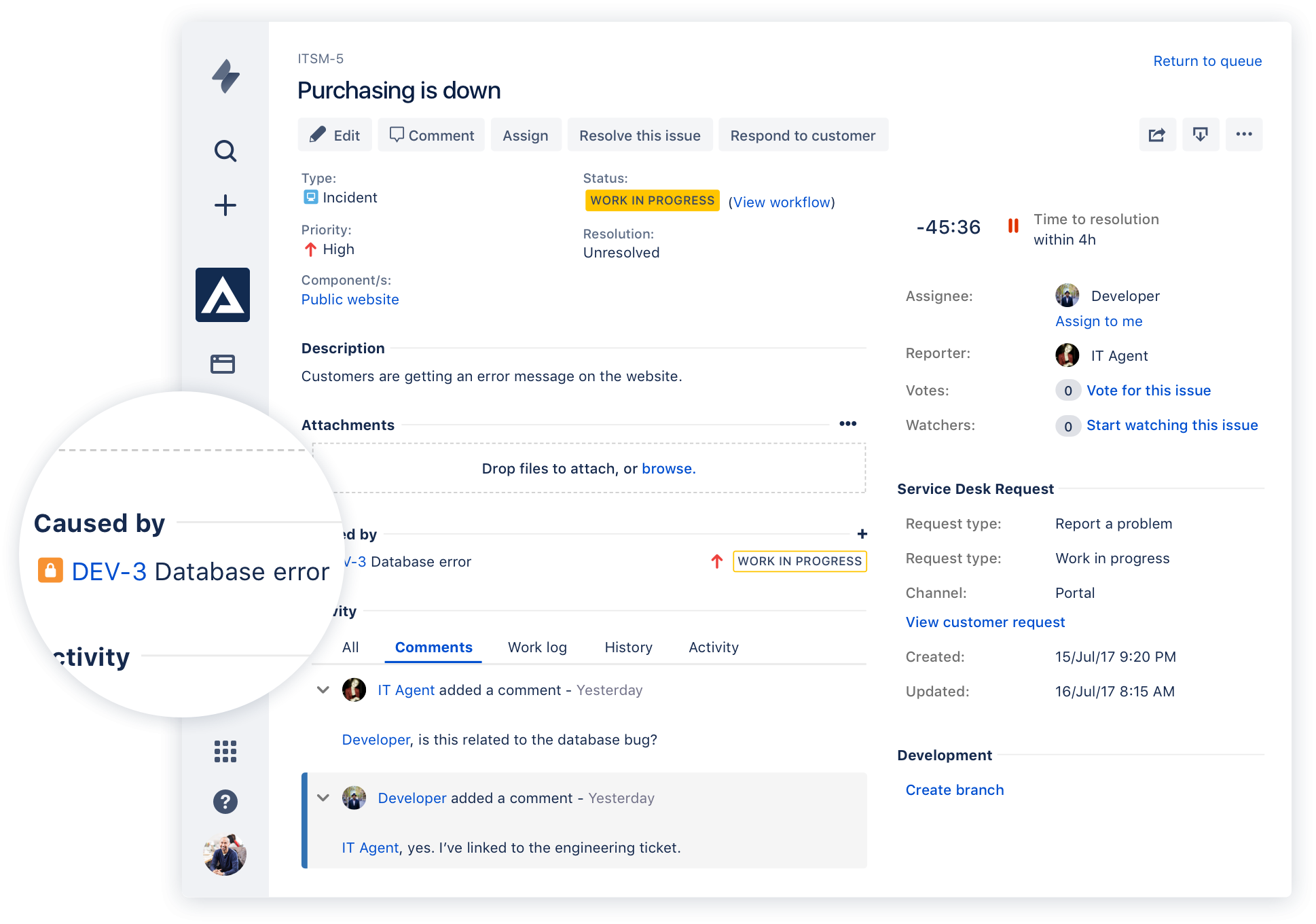 Jira Service Desk screen